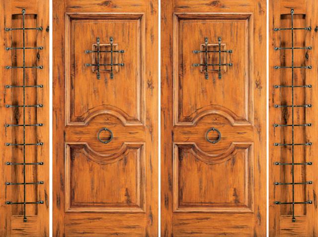 Exterior Prehung Double Door with Two Sidelites, Alder, Speakeasy rustic-front-doors