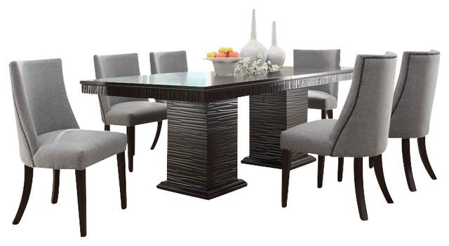 homelegance chicago 8 piece pedestal dining room set in