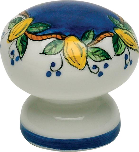 Atlas Homewares 3160-18 1-3/4-Inch Tuscany Elba Lemon Hand Painted Ceramic Knob - Mediterranean ...