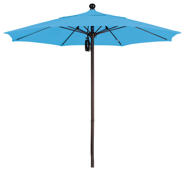 7 5 foot olefin fabric aluminum pulley lift patio market umbrella bronze pole contemporary