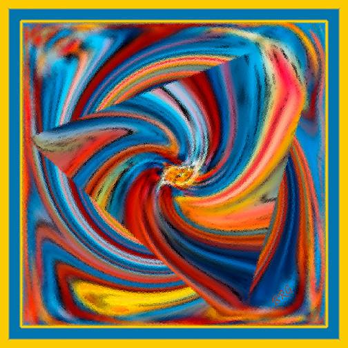 Colorful waves by ben and raisa gertsberg canvas art art print