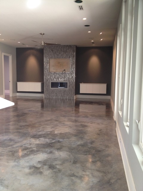 Dyed Concrete Modern Home Theater New Orleans By