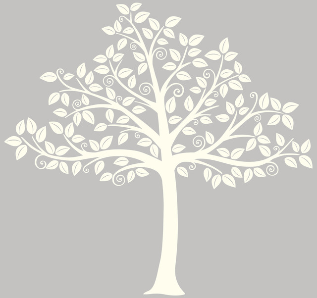 Silhouette tree wall art decal kit contemporary wall for Black and white tree mural