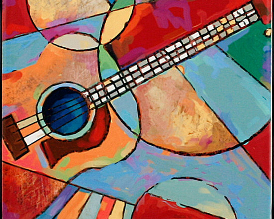 """Tile Art Gallery - Music IV Ceramic Accent Tile, 12 in - This is a beautiful sublimation printed ceramic tile entitled """"Music IV"""" by artist Shirley Novak. The printed tile displays a Guitar and a colorful abstract background. Pricing starts at just $14.95 for a 4.25 inch tile."""