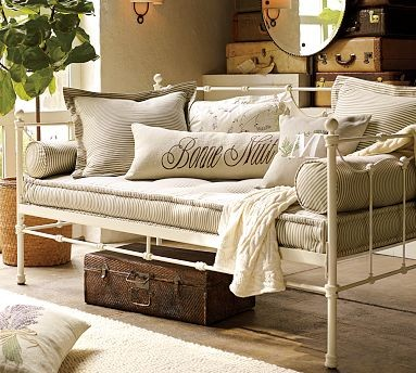 Savannah Metal Daybed Distressed Antique White