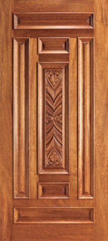 Exterior mahogany wood carved 7 panel traditional single for Single main door designs