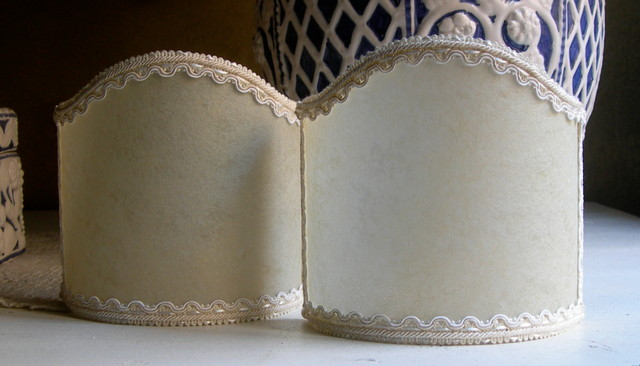 Wall Sconce Half Lamp Shades : Wall Sconce Clip On Shield Shade in Ivory Veined Parchment Half Lampshade - Craftsman - Lamp ...