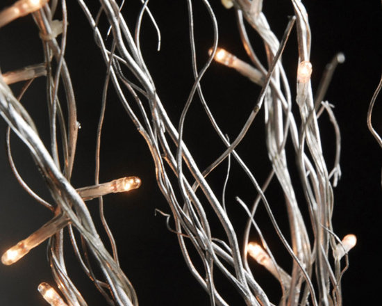 Silver Natural Curly Willow 20 in. Branches w/ 25 Warm White LED lights (10 bran -