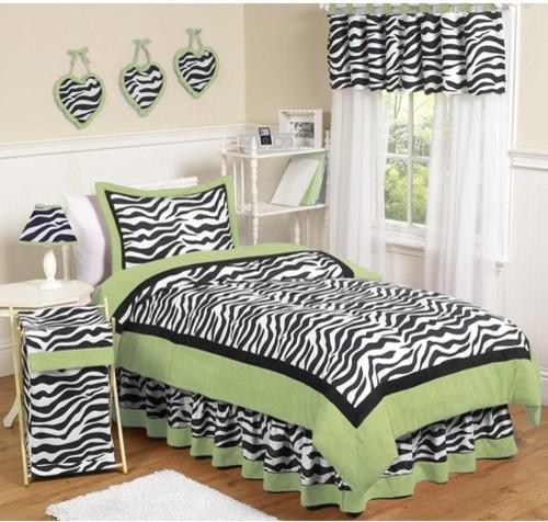 Zebra Lime Collection 3pc Full/Queen Bedding Set modern-duvet-covers