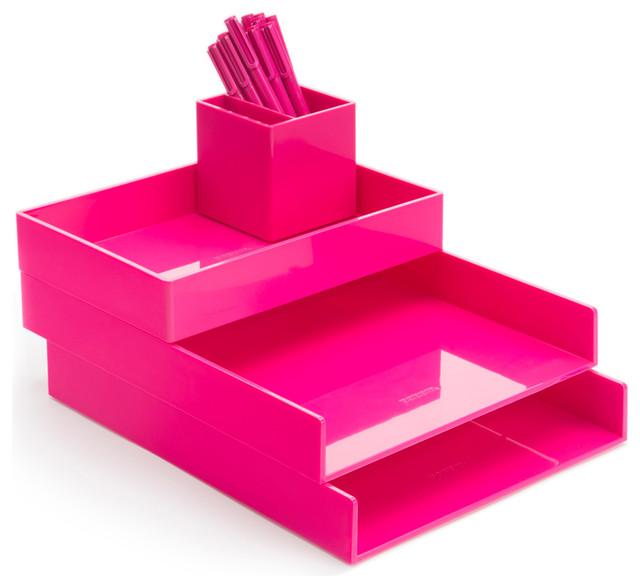 Desktop Pink Contemporary Desk Accessories by Poppin