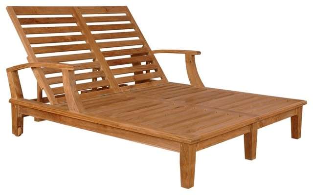 Teak Lounger w Slats - Double, Arm traditional day beds and chaises