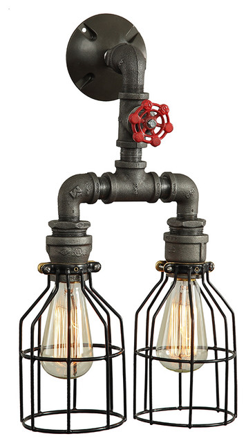 Industrial Style Double Wall Lights : Double Pendant - Industrial Style Wall Sconce - Industrial - Wall Sconces - by West Ninth Vintage