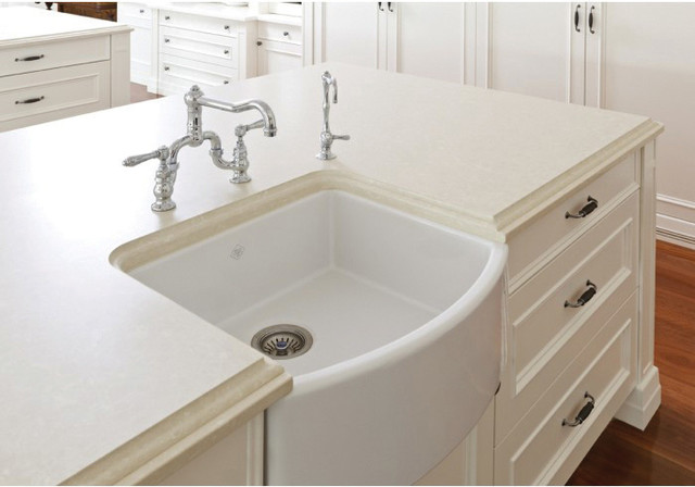 Rohl Farmhouse Sink : ... Fireclay Bowed Apron Front Kitchen Sink transitional-kitchen-sinks