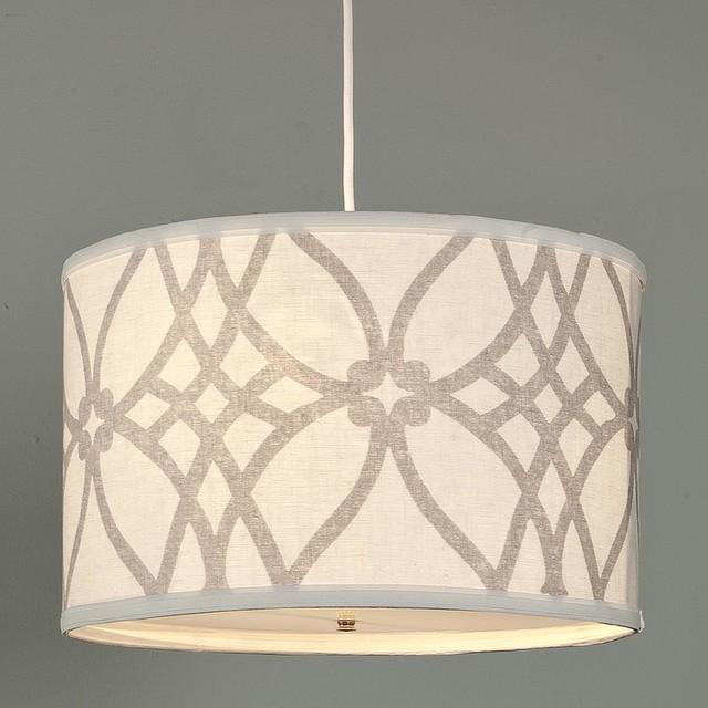 Trellis Linen Drum Shade Pendant - 2 colors lamp-shades