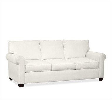 Buchanan Upholstered Sofa, Polyester Wrap Cushions, Washed Linen/Cotton Ivory traditional-sofas