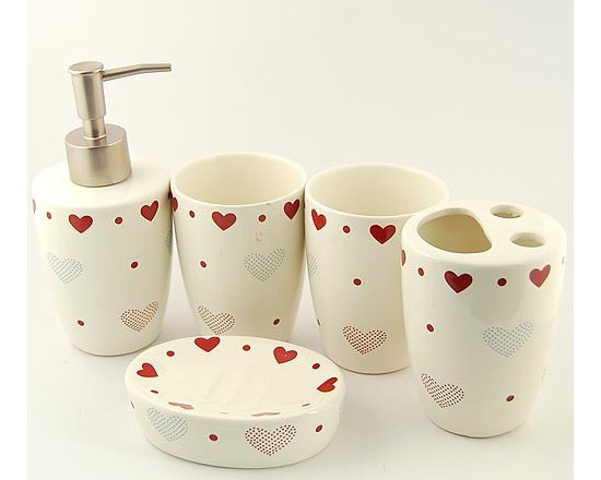 Loving Heart Pattern Ceramic Bath Accessory Set - Bath Accessory Sets