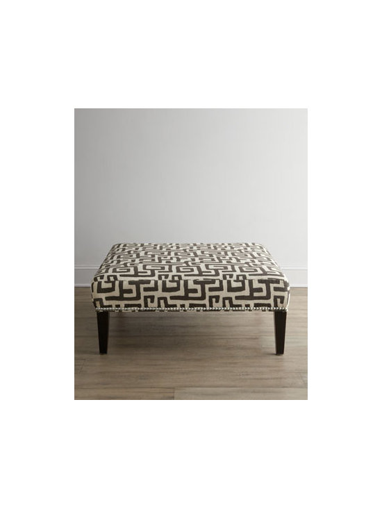 "Horchow - Greek Shadow Key Ottoman - Get lost in an elegant maze of Greek keys displayed on this fine ottoman accented with pewter nailhead trim. Handcrafted of select and engineered hardwoods. Upholstery is cotton/rayon blend. 40""Sq. x 17""T. Made in the USA. Boxed weight, approximate..."
