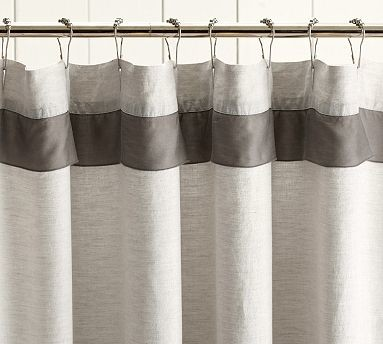 Linen With Silk Trim Shower Curtain Brownstone Traditional Shower Curtains By Pottery Barn