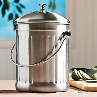 Stainless Steel Compost Crock modern-trash-cans