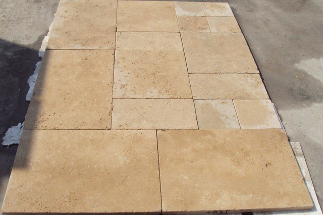 Tumbled Light Travertine Mediterranean Wall And Floor