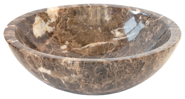 Dark Emperador Vessel Sink Bowl - Contemporary - Bathroom Sinks ...