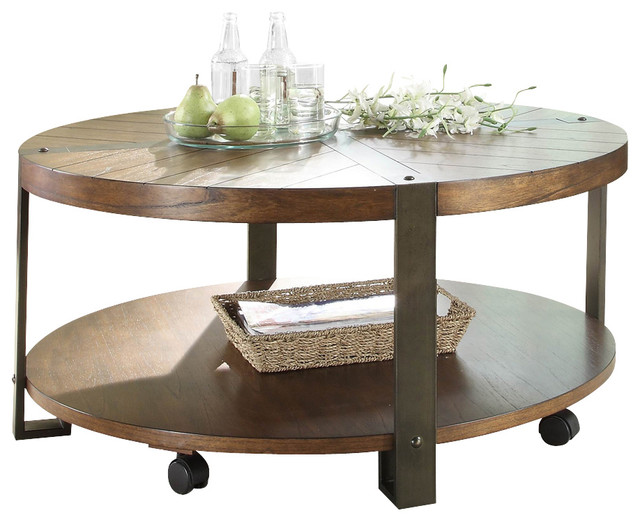 Round Cocktail Table With Casters In Natural Brown Traditional Coffee