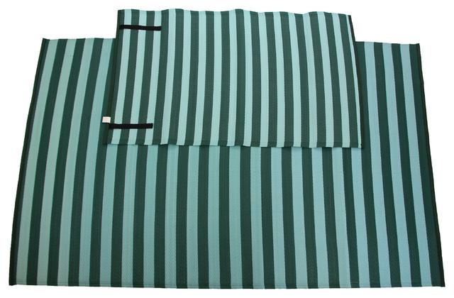 Homesuite Outdoor 5x8 Rug with Bonus 3x5 Runner Stripe Evergreen outdoor-rugs