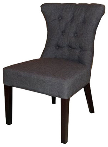 Tufted Accent Fabric Dining Chair With Nailheads Granite Transitional Di