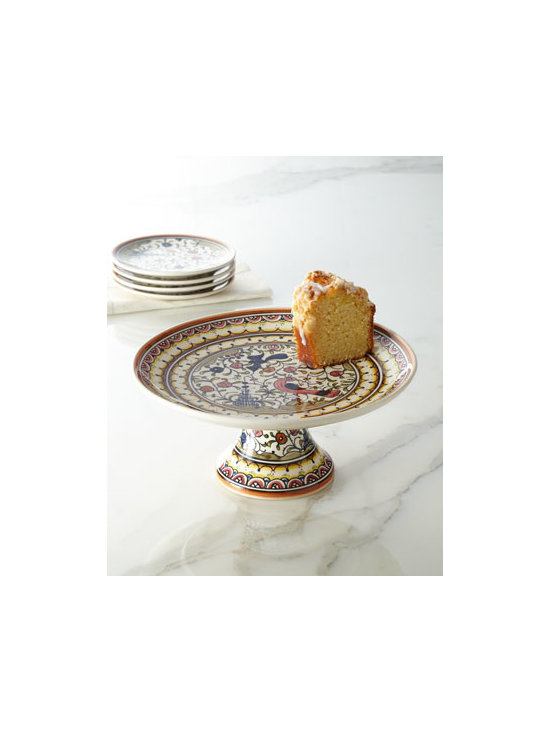 "Horchow - ""Pavoes"" Cake Stand - We love the intricacy of this hand-painted pattern, based on a typical Portuguese design from the 17th century. It makes a lovely cake stand perfect for displaying your culinary masterpieces. Made of earthenware. Dishwasher and microwave safe. 11""Dia. Made in Portugal."