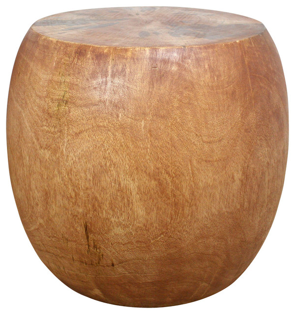 Pouf Mango Wood 20-16-14 Dia x 18 inch H w Eco Friendly Livos Light Teak Oil Fin midcentury-side-tables-and-end-tables