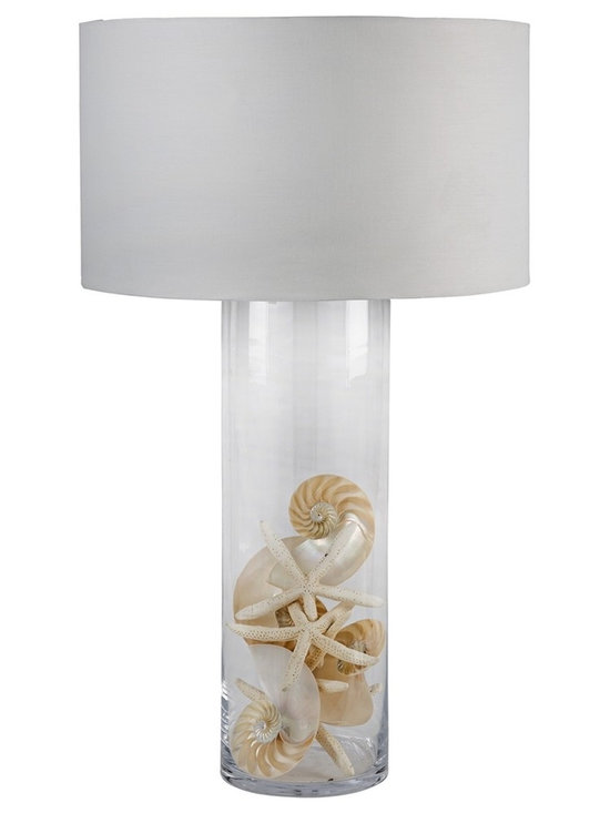 """Regina Andrew - Regina-Andrew Display Glass Cylinder Table Lamp - Filled with any items this glass table lamp can adapt to any style setting. The long cylinder glass shape in the base adds height to the look. From Regina-Andrew. Cylinder table lamp. Glass construction. Fill with items you wish to display. French-wire design. 3-way switch. Shade measures 21"""" across the top and bottom 12"""" high. Maximum 150 watt or equivalent bulb (not included). 19"""" wide. 30"""" high.   Cylinder table lamp.  Glass construction.  Fill with items you wish to display.  French-wire design.  3-way switch.  Shade measures 21"""" across the top and bottom 12"""" high.  Maximum 150 watt or equivalent bulb (not included).  19"""" wide.  30"""" high."""