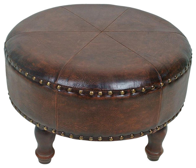 Round Stool W Brown Faux Leather And Nailhead Trim
