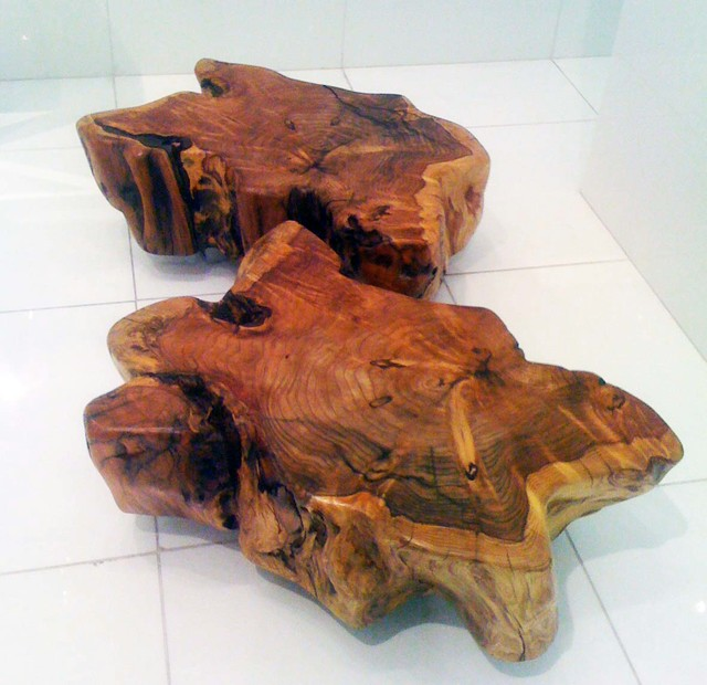 Custom made wood stump tables coffee tables new york for Stump furniture making
