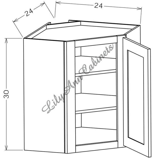 RTA Hickory Walnut Wall Cabinets WDC2430 Diagonal Corner Wall Cabinet ...