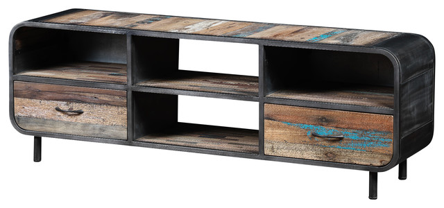 Industrial TV Unit Made of Recycled Boat Wood and Metal - Industrial - Storage Cabinets - by ...