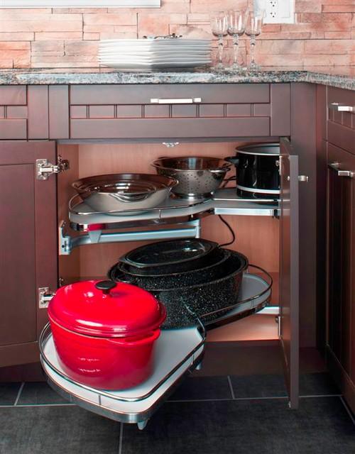 KITCHEN BLIND CORNER CABINET ORGANIZER eclectic-kitchen-cabinetry