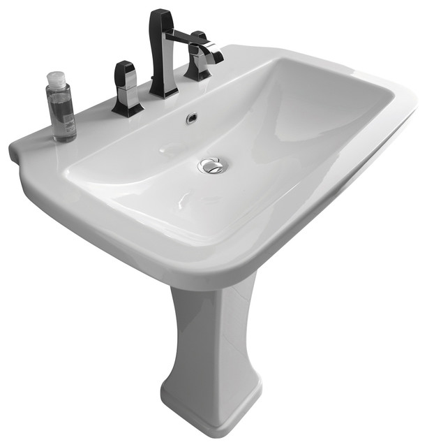 Bathroom Sink Photos : Pedestal Sink in Ceramic White 29.5