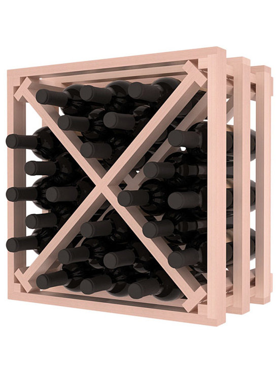 Lattice Stacking X Wine Cube in Redwood with White Wash Stain + Satin Finish - Designed to stack one on top of the other for space-saving wine storage our stacking cubes are ideal for an expanding collection. Use as a stand alone rack in your kitchen or living space or pair with the 16-Bottle Cubicle Wine Rack and/or the Stemware Rack Cube for flexible storage.