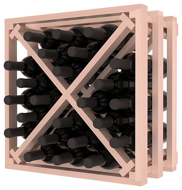 Lattice Stacking X Wine Cube in Redwood with White Wash Stain + Satin Finish traditional-wine-racks