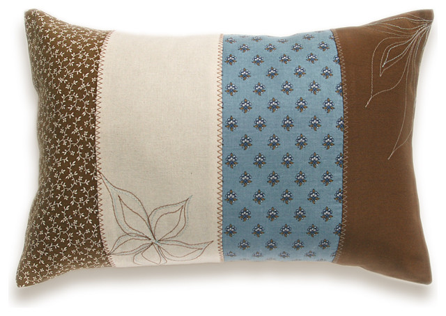 Patchwork Stripes Decorative Lumbar Pillow Cover 12x18 DHARMA DESIGN - Eclectic - Decorative ...