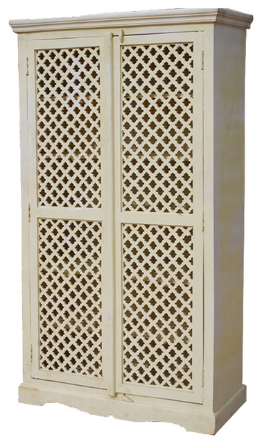 Farmhouse White Solid Wood Storage Cabinet Lattice Door Armoire - Eclectic - Armoires And ...