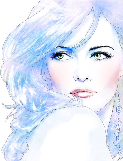 Pretty in Pastels, Watercolor Ink Fashion Illustration Prin By EstherBayer contemporary artwork