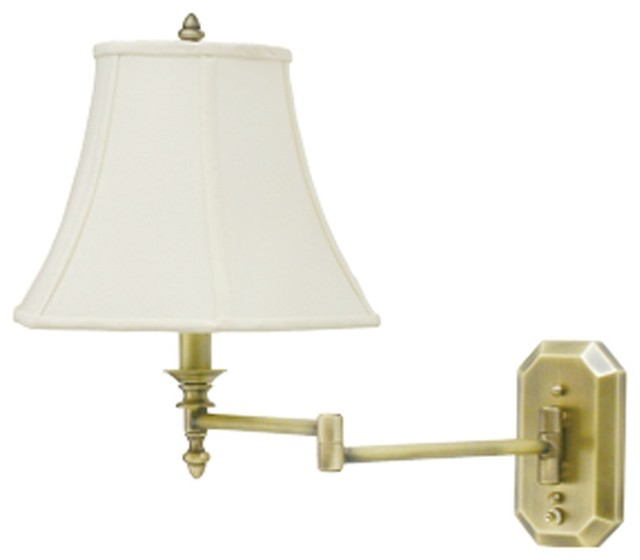 Wall Lamps Brass : Traditional Antique Brass Bell Shade Plug-In Swing Arm Wall Lamp - Traditional - Swing Arm Wall ...