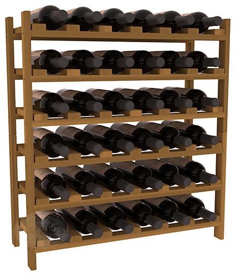 36 Bottle Stackable Wine Rack in Premium Redwood, Oak Stain contemporary-wine-racks