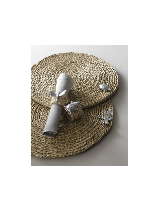 "Horchow - Turtle Placemat - Extremely durable and totally charming, these ""critter"" adorned placemats and napkin rings are the perfect accompaniments to outdoor—or casual indoor—dining. Handcrafted of natural straw and sand-cast aluminum. Wipe clean. Placemat, 15""Dia...."