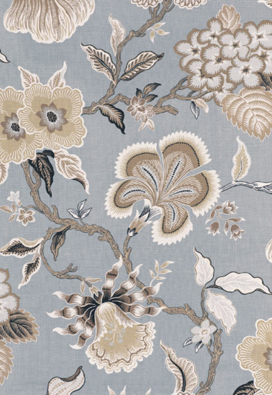 Hot House Flowers - Mineral traditional upholstery fabric