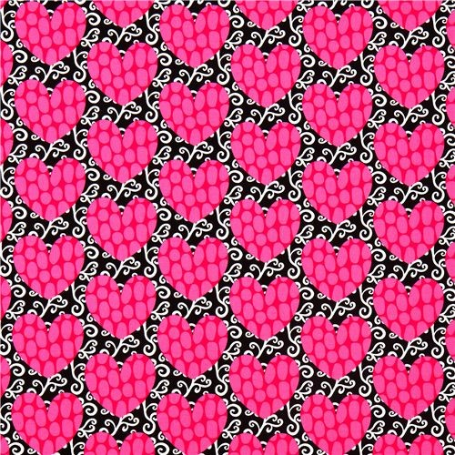 black fabric with pink hearts by Robert Kaufman fabric