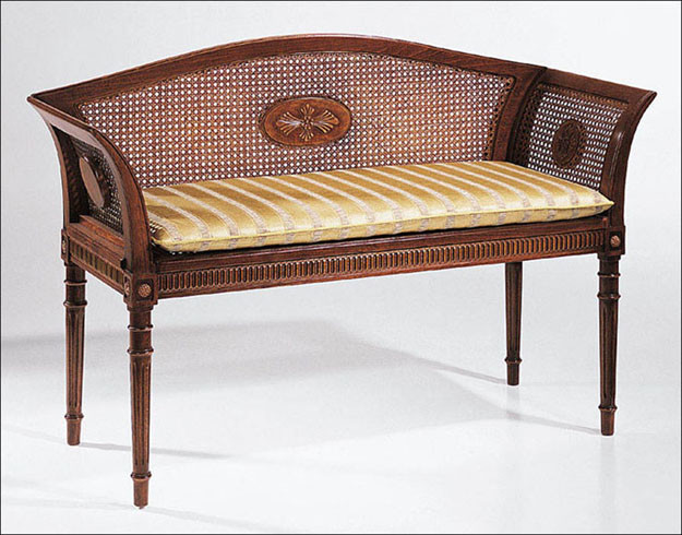 English Style Beechwood Bench With Cane Back Accent And Storage Benches Miami By