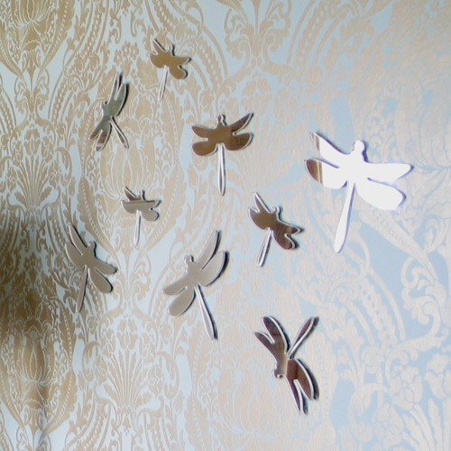 Mirror Silhouette Dragonflies Set of 3 by StudioLiscious contemporary-wall-mirrors