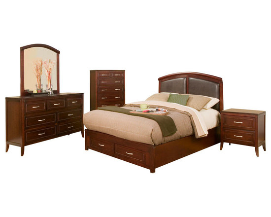 Alpine Furniture - Atherton 5 PC Cal King Panel Bedroom Set with Faux Leather Headboard and Storage - Atherton 5 PC California King Panel Bedroom Set with Faux Leather Headboard and Storage Footboard
